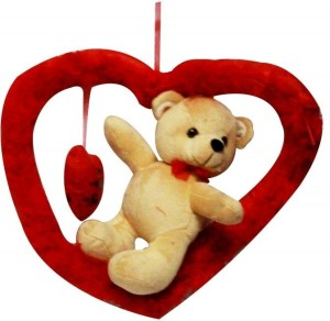 DealBindaas Valentine Romeo Bear with Heart Stuff Toy Teddy Bear  - 30 cm