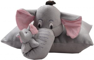 Vpra Mart Mother Elephant With baby 2 in 1 Pillow  - 43 cm