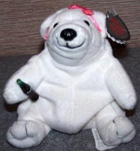 Collectable Bean Bag Plush Coca Cola Polar Bear In Pink Bow Bean Bag 0110