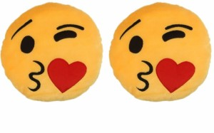Deals India Deals India Face throwing a kiss Smiley cushion(SmileyF&F)(Set of 2)  - 35 cm
