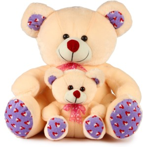 Deals India Cream Mother And Baby Teddy  - 40 cm