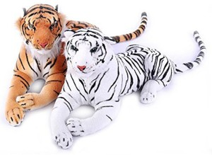Creative Kids Stuffed Soft White Tiger & Brown Tiger Combo  - 40 cm