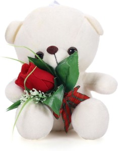Tickles Charming Teddy With Rose  - 21 cm