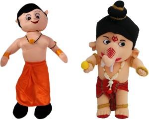 Poonam Big Size Chota Bheem Kids Plush Soft Toy 50cm (20inch) With Big Size Bal Ganesha 50Cm (20inch)  - 50 cm