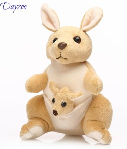 Dayzee Cute Beige And Cream Kangaroo With Baby In Pouch  - 30 cm