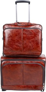 PRAGEE Exclusive Brown PU Leather Office Laptop Trolley Bag Expandable  Cabin Luggage - 20 inch