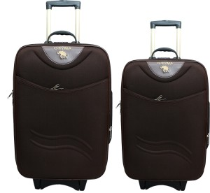GOYMA Stylish Hard Shell Expandable (20,24) Inches Brown Color Trolley Bag Pack Of 2 Cabin Luggage - 24 inch