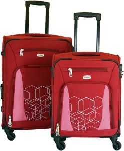 Timus Morocco SPINNER 55 & 65cm RED Travel Combo Expandable  Check-in Luggage - 24 inch