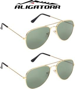fa3f2cf265 Aligatorr Green Aviator Aviator SunglassesGreen