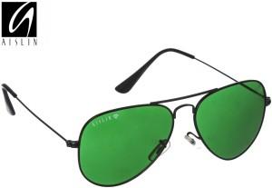 0e9fcfa23751f Aislin AS 3025DH 4 BLK Aviator Sunglasses Green Best Price in India ...