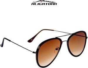 a04744a45f Aligatorr Double Frame Shade Aviator SunglassesBrown