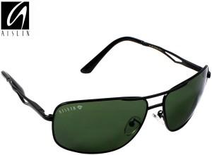 a5710d965ef57 Aislin AS 3481DH 5 BLK Rectangular Aviator Sunglasses Green Best ...