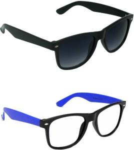 2375908180 Amour-propre Blue Clear Wayfarer and Black lenses Wayfarer Wayfarer  Sunglasses