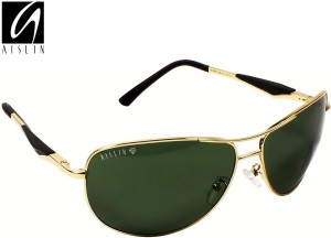 a59d1fff76aa3 Aislin AS 3519DH 5 GLD Aviator Wrap around Sunglasses Green Best ...