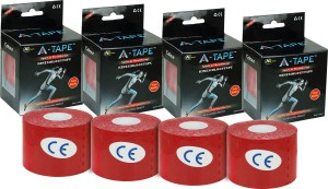 A -TAPE Kinesiology Tape Knee, Calf & Thigh Support (Free Size, Red)