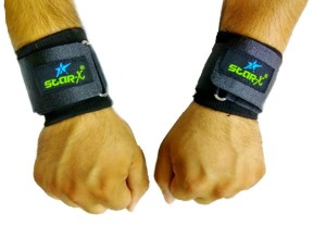 Star X Ribb made extra long velcro Wrist Support (Free Size, Black)