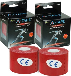 A -TAPE Kinesiology Tape (Pack of 2) Knee, Calf & Thigh Support (Free Size, Red)