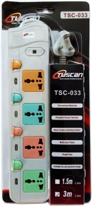 Tuscan Extension Board - 3 Meter Cable 4 Socket Surge Protector