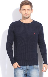 Nautica Solid Casual Men Blue Sweater