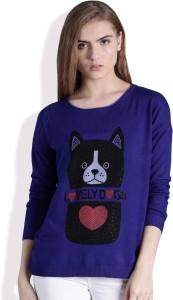 Kook N Keech Printed Round Neck Casual Women Blue Sweater