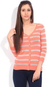 Lee Striped Casual Women Pink Sweater