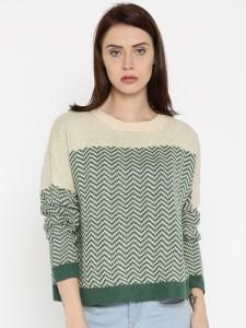 Roadster Self Design Round Neck Casual Women Green, Beige Sweater