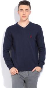2520f5fc Ralph Lauren Solid V neck Casual Men Dark Blue Sweater Best Price in ...