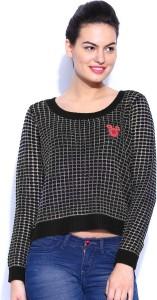 Kook N Keech Self Design Round Neck Casual Women Black Sweater