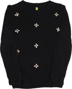 ac90d008173 Gini & Jony Solid Round Neck Casual Girls Black sweater