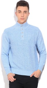 Nautica Self Design Casual Men Blue Sweater