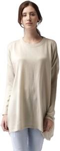 Mast & Harbour Solid Round Neck Casual Women Beige Sweater