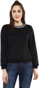 Sassafras Full Sleeve Solid Women's Sweatshirt