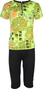 Rovars Floral Print Girls Swimsuit