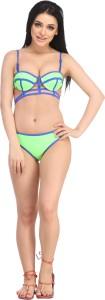 N-Gal Sea Green Dominated Bikini Swimsuit Solid Women's Swimsuit
