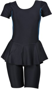 Champ Black Padded Swimwear With Knee Length Shorts Solid Women's Swimsuit