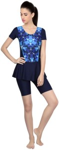 Veloz With Frock / Sleeve / cycling Floral Print Girls Swimsuit