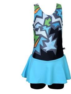 Champ Girls Swimwear Sleeveless Frock -Short Bloomer Printed Girls Swimsuit
