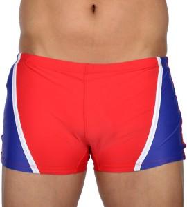 AquaChamp Swimwear - Export Quality - Red Swim Trunk for Men/Boys - 1702 Solid Men's Swimsuit