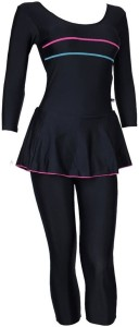 Champ Frock with 3/4th Sleeves & 3/4th Legs Solid Women's Swimsuit