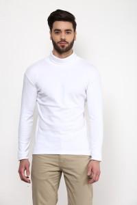 Hypernation Solid Men's Turtle Neck White T-Shirt