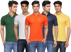 b28be511fa9 Rico Sordi Solid Men s Polo Neck Multicolor T Shirt Pack of 5 Best ...