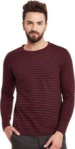 Hypernation Striped Men's Round Neck Red, Black T-Shirt