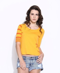 Cult Fiction Printed Women's Scoop Neck Yellow T-Shirt