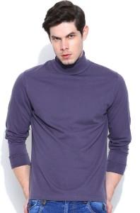 Dream of Glory Inc. Solid Men's Turtle Neck Purple T-Shirt