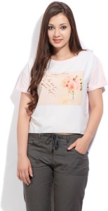 United Colors of Benetton Graphic Print Women's Round Neck Pink T-Shirt