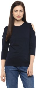Hypernation Solid Women's Round Neck Dark Blue T-Shirt
