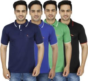 676771b0c2e8 PRO Lapes Solid Men s Polo Neck Multicolor T Shirt Pack of 4 Best ...
