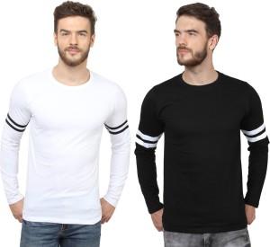 Sayitloud Solid Men's Round Neck Black, White T-Shirt
