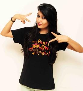 Sukhi Aatma Printed Women's Round Neck Black T-Shirt