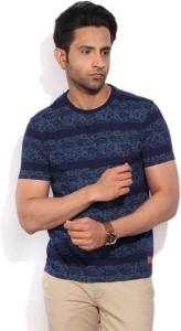 a58509cb96 LP Jeans by Louis Philippe Printed Men s Round Neck Blue T-Shirt Price List